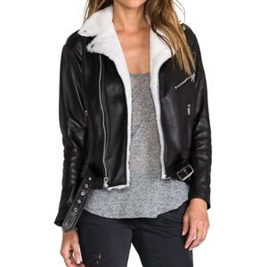 LAER classic leather moto jacket w/ shearling